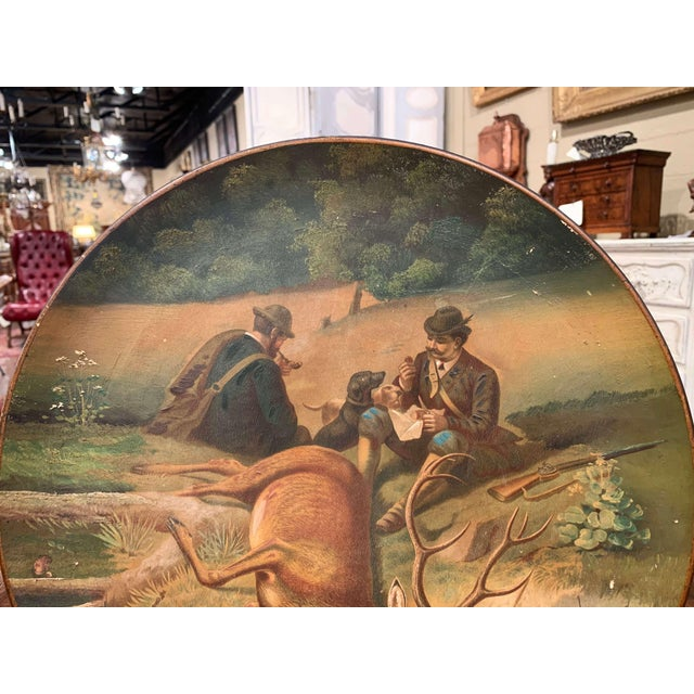 Black Forest Early 20th Century German Hand Painted Ceramic Hunt Scene Wall Platter For Sale - Image 3 of 13