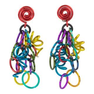 David Spada Space Age Multicolor Aluminum Dangling Clip-On Earrings For Sale