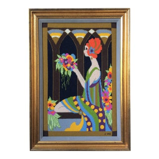 Framed 1960s Retro Art Nouveau/Art Deco Hand Embroidered Signed Textile Art