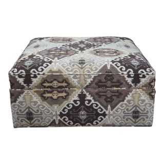 Drexel Heritage Square Geometric Upholstered Rolling Ottoman For Sale