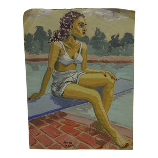 "Original Painting on Paper ""Summertime"" by Tom Sturges Jr., 1947"