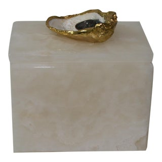 Gold Plated Oyster Top Onyx Box