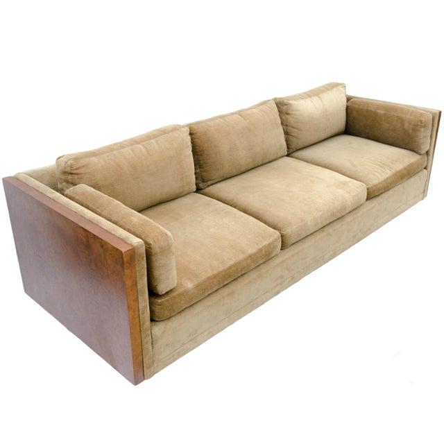 Milo Baughman Style Burl Wood Sofa For Sale - Image 9 of 11