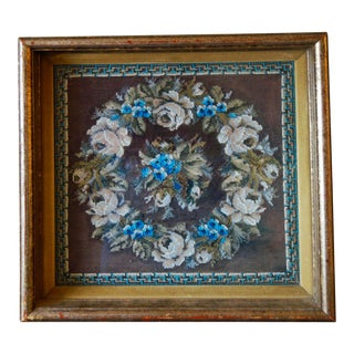 Late 19th Century Victorian Beaded Wreath White Cabbage Roses and Forget-Me-Nots For Sale