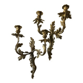 Louis XV Style Gilt Bronze Sconces - a Pair For Sale
