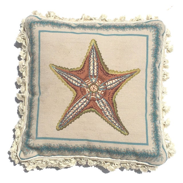dfc785595560 Large Vintage Starfish Wool Needlepoint Pillow For Sale - Image 4 of 4