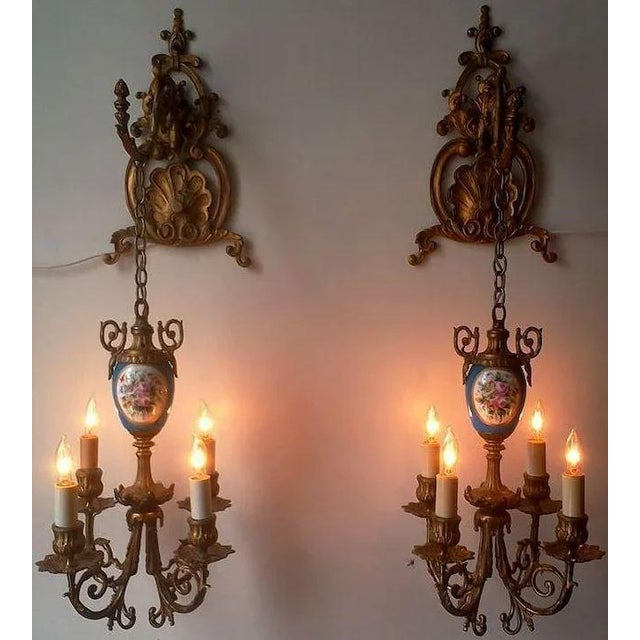 Pair of Beautiful Floral Pendant Lights or Sconces For Sale - Image 9 of 10
