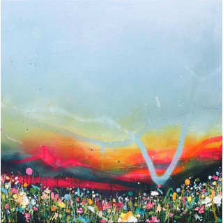 """""""Summer Sunset"""" Contemporary Abstract Landscape Mixed-Media Painting by Lee Herring For Sale"""
