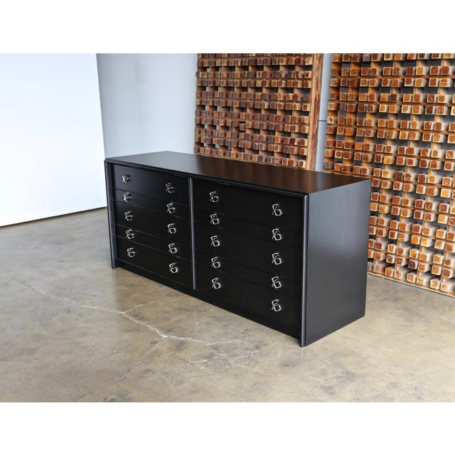Mid-Century Modern 1950s Mid-Century Modern Paul Frankl for Johnson Furniture Company Ebonized Chest For Sale - Image 3 of 13