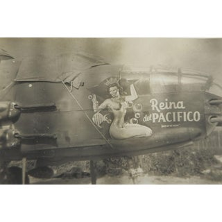 Ww2 Nose Art Reina Del Pacifico B25 Michell Gunship 345th Snapshot For Sale