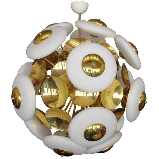 Italian Sputnik chandelier shown in matte white Murano glass shades on polished brass frame / Made in Italy 18 lights /...