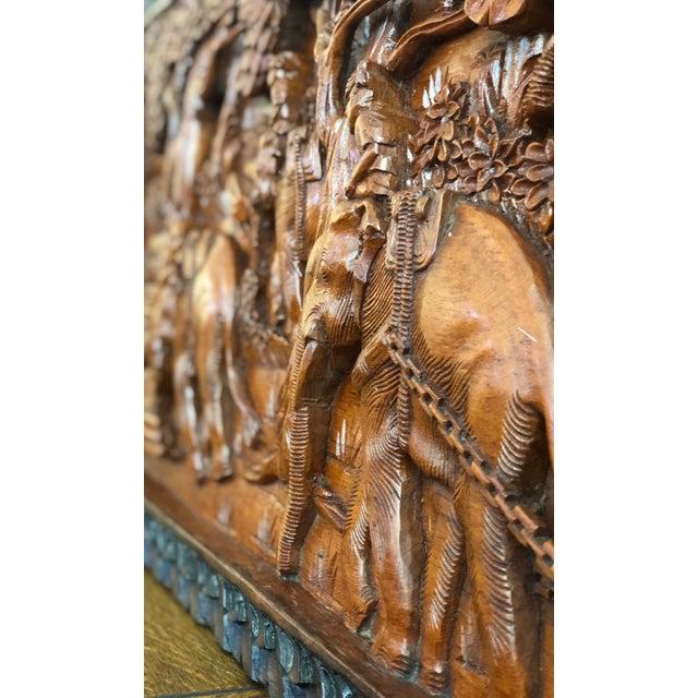 Large Vintage Wall Sculpture 3d Hand Carved Relief Teak Panel For Sale - Image 11 of 13