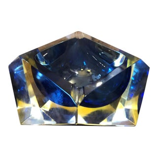 1970s Italian Mid-Century Modern Seguso Yellow and Blue Murano Glass Ashtray For Sale