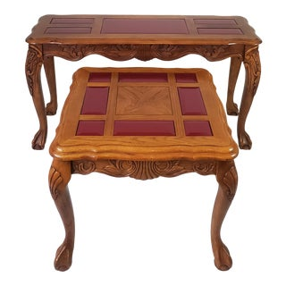1950's French Style Art Nouveau Hand Carved Claw Foot Console & Side Table Set - 2 Pieces For Sale