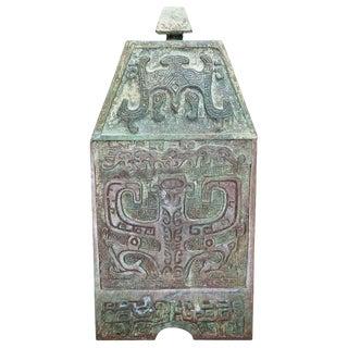 Lawrence & Scott Verdigris Bronze Wine Box For Sale