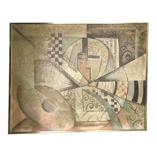 Vintage Cubism Painting by Tait For Sale