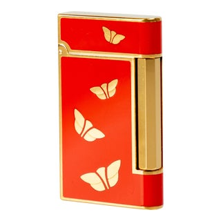 1970s Bulgari Chinoiserie Red Lacquer Gold Butterfly Lighter For Sale
