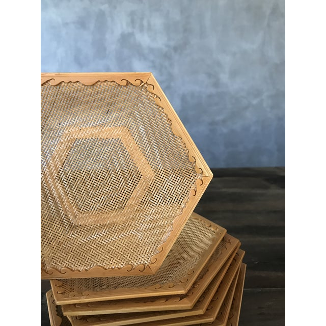 Wooden & Wicker Coasters - Set of 8 - Image 3 of 5