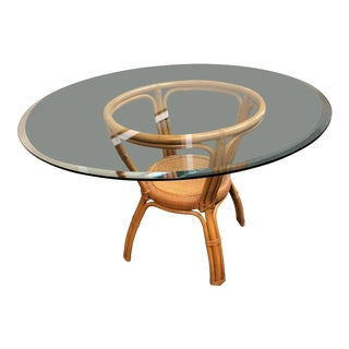 McGuire Style Rattan + Glass Dining Table