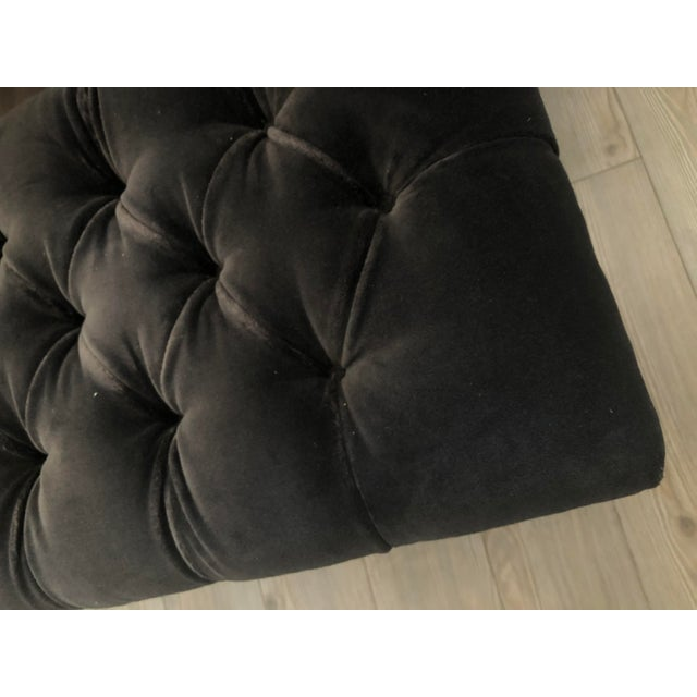 Mid 20th Century Vintage Tufted Gray Velvet Bench For Sale - Image 5 of 7