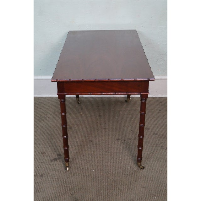 Hickory Chair Faux Bamboo Mahogany Writing Desk For Sale - Image 7 of 10