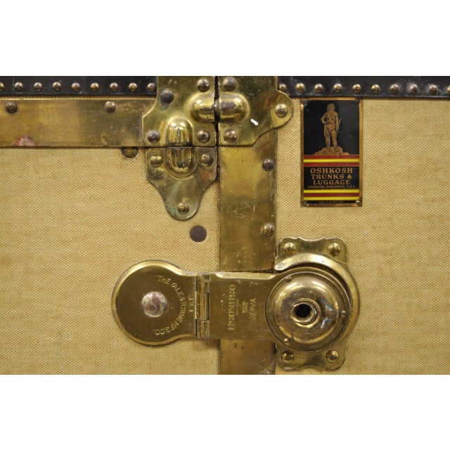 Canvas 1930s Traditional Oshkosh the Chief Wardrobe Steamer Trunk For Sale - Image 7 of 13