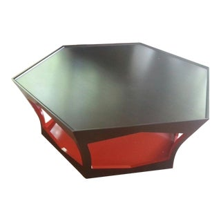 Angelo Donghia Octagonal Black and Red Lacquer Coffee Table For Sale