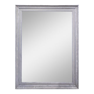 Floor Mirror Crafted From Antique French Frame in Greige and Silver Gilt Finish For Sale
