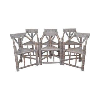 Cerused Oak Antique Aesthetic Carved Turners Chairs - Set of 6 For Sale