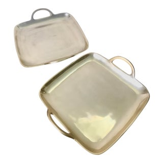 Contemporary Polished Gold Colored Trays With Handles - a Pair For Sale
