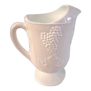 Mid-Century Large White Milk Glass Footed Pitcher For Sale