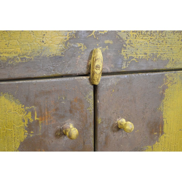 Primitive Distressed Painted Country Small Dry Sink Cabinet For Sale - Image 4 of 11