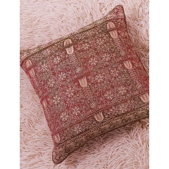 Luxury Silk Emnroidered Decorative Chikan Pillow For Sale - Image 4 of 5
