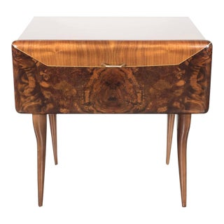 Mid-Century Modernist Italian Nightstand/End Table in Exotic Bookmatched Wood For Sale