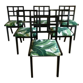 Mid Century Art Deco Paul Laszlo Gilbert Rohde Style Dining Chairs- Set of 6 For Sale