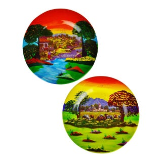 Vintage Hand Painted Mexican Pottery Plate Wall Art - A Pair For Sale