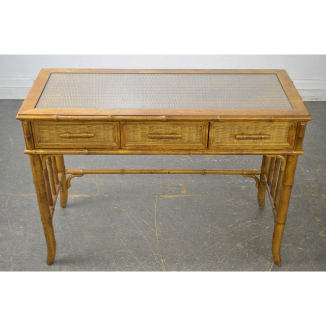 American of Martinsville Faux Bamboo & Wicker Writing Desk For Sale - Image 9 of 13