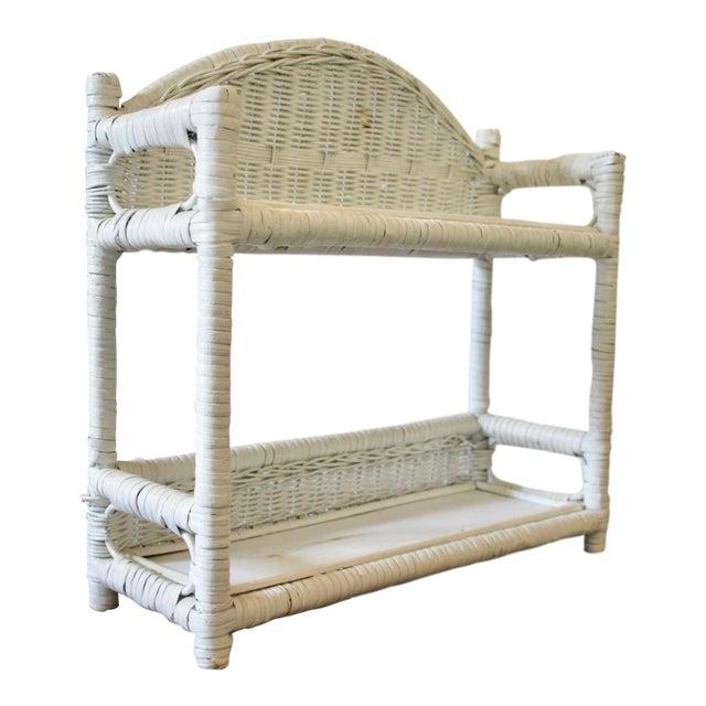 Wicker Two-Tier Wall-Mounted Shelf For Sale