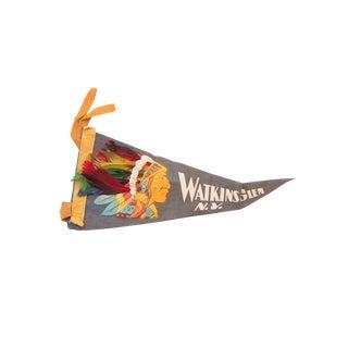 Blue Watkins Glen NY Headdress Native American Felt Flag