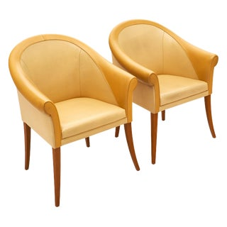 Poltrona Frau Leather Armchairs - a Pair For Sale