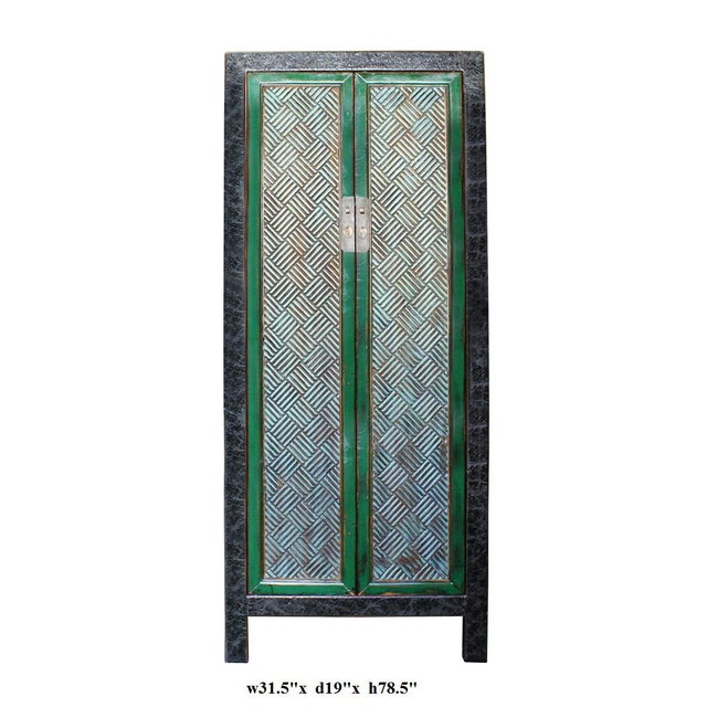 Chinese Distressed Green Blue Armoire For Sale In San Francisco - Image 6 of 6
