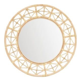 Round Diamond Pattern Mirror, Beige, Rattan For Sale