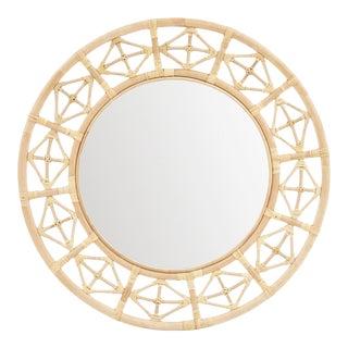 Round Diamond Pattern Mirror, Beige, Rattan For Sale