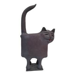 70's Studio Pottery Cat Sculpture For Sale