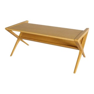 Small-scale Magazine Stand Blonde Coffee Table For Sale