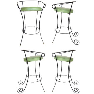 Black Iron Bar Stools w/ Scrolling Accents, Set of Four For Sale