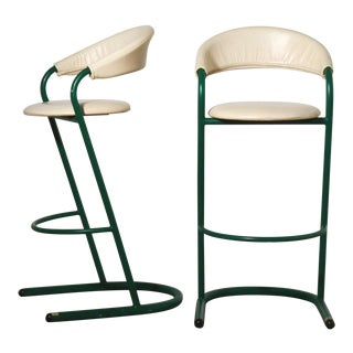 Green Cantilever Tubular Bar Stools - Pair For Sale
