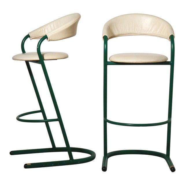 Green Cantilever Tubular Bar Stools - Pair For Sale