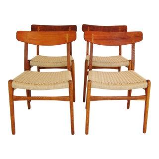 Hans Wegner Ch-23 Teak & Oak Dining Chairs - Set of 4