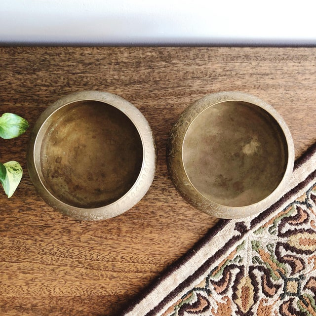 Indian Vintage Indian Etched Brass Bowls - a Pair For Sale - Image 3 of 6